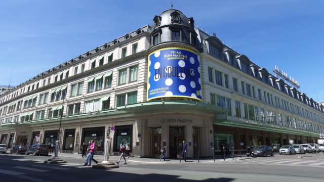 exterior view le bon marche department store - department store stock videos & royalty-free footage