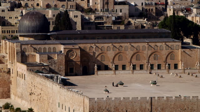 ws tu exterior view of al-aqsa mosque in city / jerusalem, east jerusalem, israel - al aqsa mosque stock videos and b-roll footage
