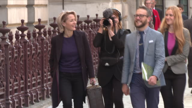 Exterior view of Gillian Anderson walking up to deliver a petition at the Foreign and Commonwealth Office signed by more than 300000 people calling...