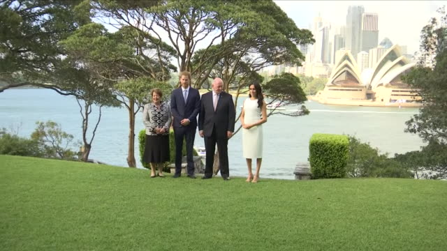 Exterior view of Prince Harry and Meghan The Duke and Duchess of Sussex and Governor General Sir Peter Cosgrove and Lady Cosgrove in the garden at...