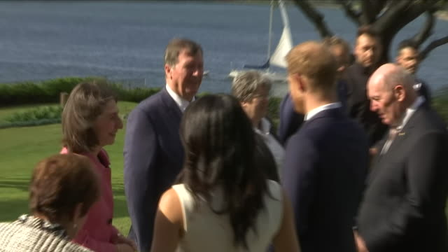 Exterior view of Prince Harry and Meghan The Duke and Duchess of Sussex talking with officials and Governor General Sir Peter Cosgrove and Lady...