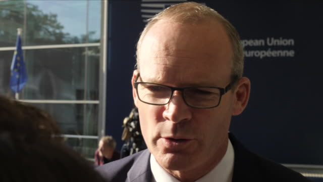 Exterior view of Simon Coveney Irish Fine Gael politician at the Foreign Affairs Council meeting in Luxembourg and being interviewed about Brexit on...