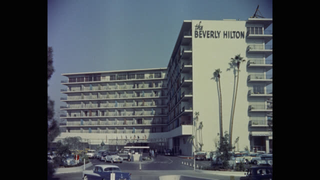 exterior view of the beverly hilton hotel, beverly hills, california, usa - the beverly hilton hotel stock videos & royalty-free footage