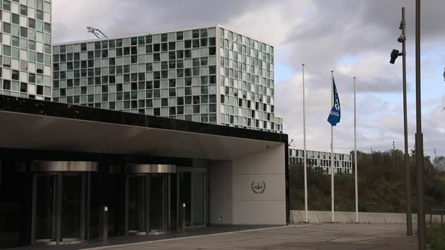 exterior view of the international criminal court building on october 18 in the hague, the netherlands. targeted by us sanctions since september, the... - partisan politics stock videos & royalty-free footage