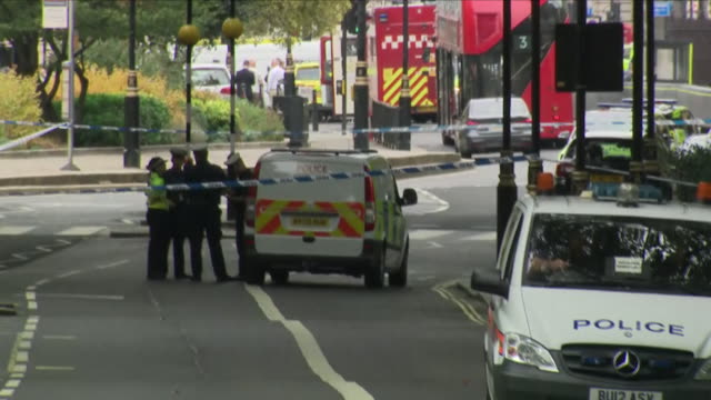 exterior view of the scene looking towards the houses of parliament from lambeth bridge direction, shortly after a ford fiesta car that was driven... - lambeth stock videos & royalty-free footage