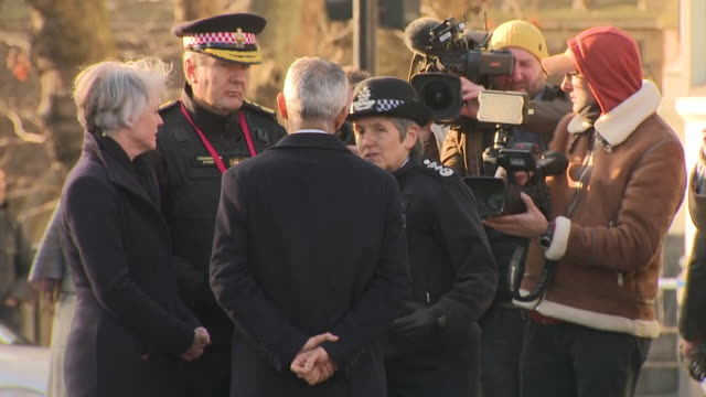 exterior views as sadiq khan the mayor of london and cressida dick the commissioner of the metropolitan police talk to each other at the scene of the... - 警視庁点の映像素材/bロール
