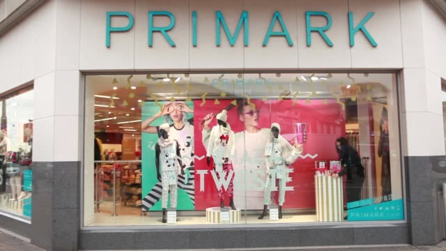 exterior views of a primark clothing store operated by associated british foods plc on oxford street in london uk on monday nov 3 tilt up of price... - window display stock videos and b-roll footage