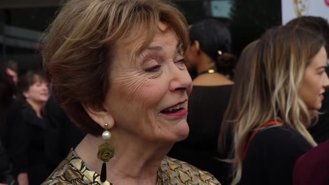 exterior views of an interview on the bafta tv awards red carpet with joan bakewell, who is to be awarded the bafta tv fellowship at the ceremony on... - joan bakewell stock videos & royalty-free footage