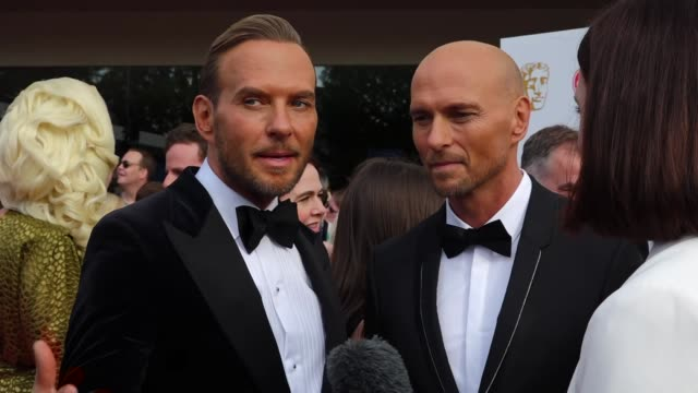 exterior views of an interview on the bafta tv awards red carpet with luke and matt goss in london united kingdom - british academy television awards stock videos & royalty-free footage