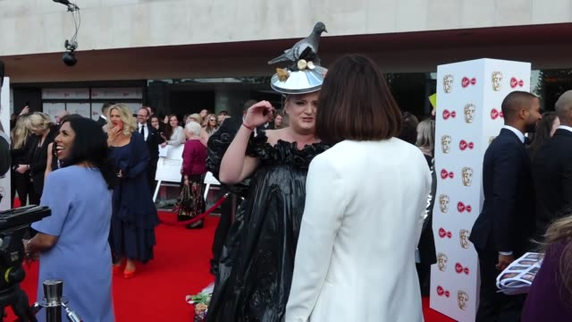exterior views of an interview on the bafta tv awards red carpet with actress daisy may cooper in london united kingdom - british academy television awards stock videos & royalty-free footage
