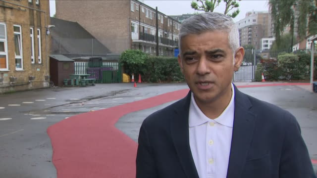 exterior views of an interview with sadiq khan talking about the school daily mile school run on october 15 2018 in london england - sadiq khan stock videos & royalty-free footage