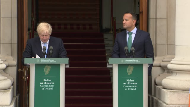 exterior views of boris johnson speaking at a joint press conference with leo varadkar at government buildings on 9 september 2019 in dublin ireland - leo varadkar stock videos and b-roll footage