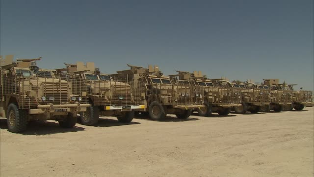Exterior views of British armoured vehicles at Camp Bastion on 11 June 2013 in Lashkar Gah Afghanistan