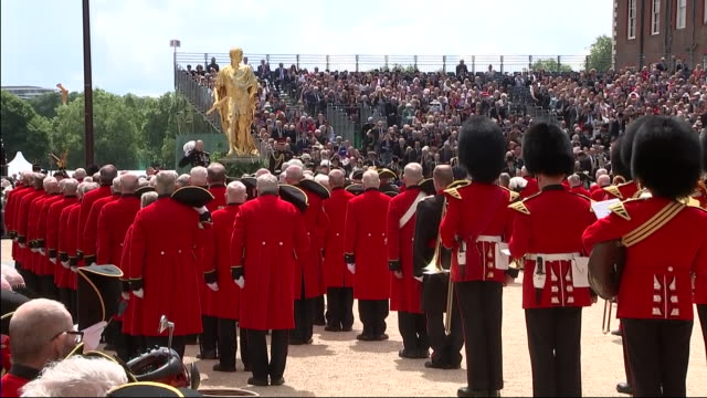 Exterior views of Chelsea pensioners giving Three cheers to The Queen and Prince Harry The Duke of Sussex at The Royal Hospital Chelsea as he attends...