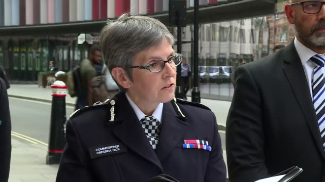 exterior views of cressida dick, commissioner of the metropolitan police giving a statement following following the conclusion of inquest into deaths... - police statement stock videos & royalty-free footage