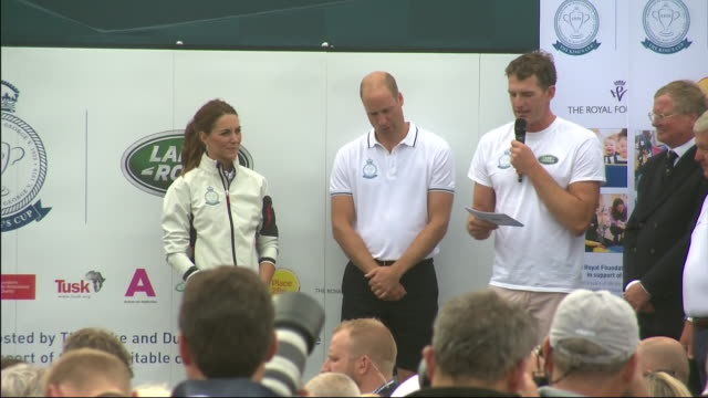 exterior views of dan snow introducing the duke of cambridge to be presented with champagne for finishing third at the kings regatta on 8 august 2019... - wine stock videos & royalty-free footage