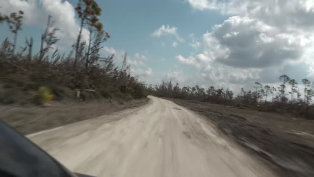 vidéos et rushes de exterior views of destruction caused by hurricane dorian see from travelling car window including fallen trees wreckage and abandoned truck on 6... - bahamas