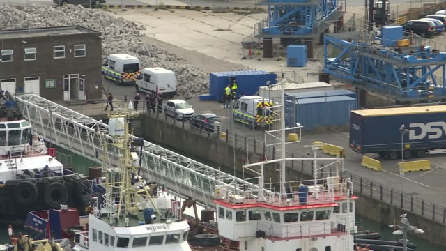 exterior views of dover dockside harbour with police and customs activity on 31 august 2019 in dover united kingdom - docks stock videos & royalty-free footage