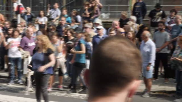 exterior views of fans gathered outside abbey road on the 50th anniversary of the abbey road cover photo on 8 august 2019 in london united kingdom - zebra crossing stock videos & royalty-free footage