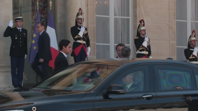 Exterior views of French President Emanuel Macron greeting King Abdullah II of Jordan at the Elysee Palace ahead of the 'Christchurch Call' Summit on...