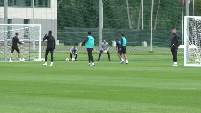 Exterior views of Gareth Southgate supervising England World Cup Squad in training including Phil Jones Reuben LoftusCheek Danny Welbeck and Marcus...