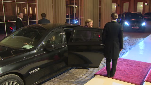 exterior views of german chancellor angela merkel arriving at buckingham palace for nato 70th anniversary reception on 03 december 2019 in london... - chancellor of germany stock videos & royalty-free footage
