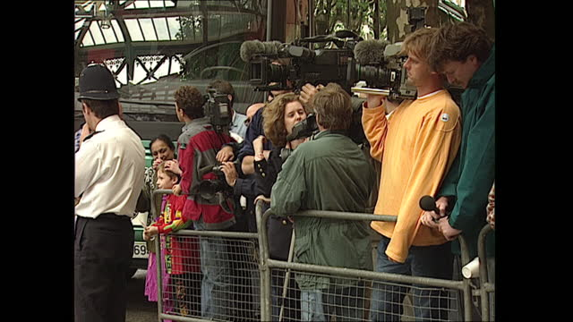 exterior views of german team officials arriving at the the landmark hotel in marylebone watched by the press on 24 june 1996 in london, united... - 1996 stock videos & royalty-free footage