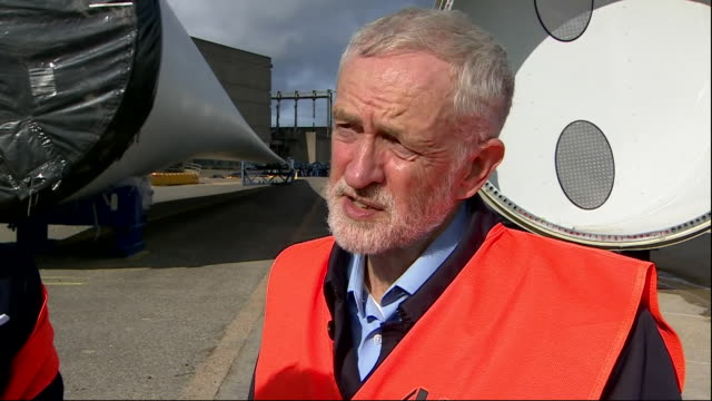exterior views of jeremy corbyn being interviewed at a wind turbine facility in fawley on 9 october 2019 in southampton united kingdom - windmill stock videos & royalty-free footage