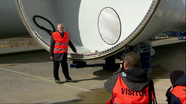 exterior views of jeremy corbyn posing for photographs and talking with staff along with rebecca longbailey at a wind turbine facility in fawley on 9... - windmill stock videos & royalty-free footage