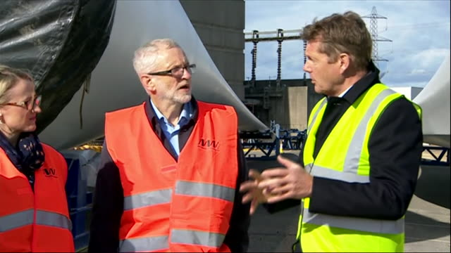 exterior views of jeremy corbyn talking with staff at a wind turbine facility in fawley on 9 october 2019 in southampton united kingdom - windmill stock videos & royalty-free footage