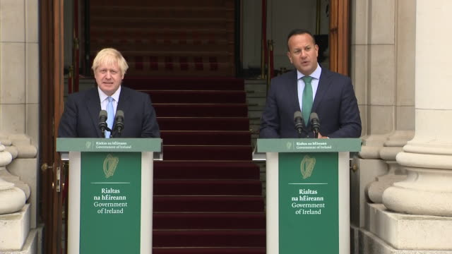 exterior views of leo varadkar speaking at a joint press conference with boris johnson at government buildings on 9 september 2019 in dublin ireland - leo varadkar stock videos and b-roll footage