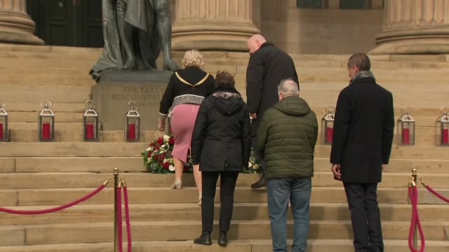 exterior views of liverpool councillor christine banks mayor of liverpool joe anderson as they place wreaths at stgeorges hall as it marks 30 years... - hillsborough disaster stock videos and b-roll footage