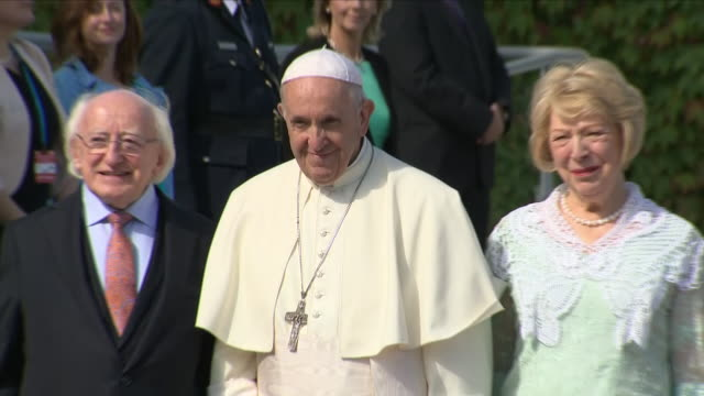 exterior views of pope francis arriving at the presidential residence and greeted by irish president michael d higgins his wife sabina on 25th august... - michael d. higgins stock videos and b-roll footage