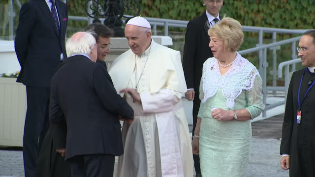 exterior views of pope francis departing the presidential residence and saying goodby to irish president michael d higgins and his wife sabina on... - michael d. higgins stock videos and b-roll footage