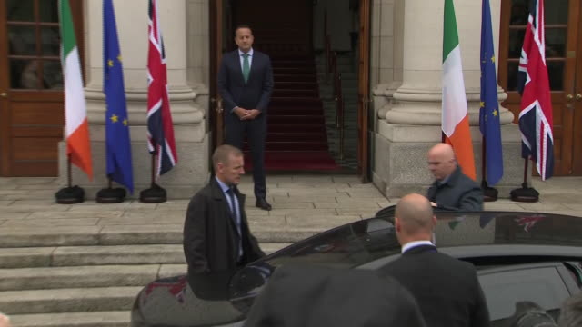 exterior views of prime johnson boris johnson arriving by car and being greeted by leo varadkar at government buildings on 9 september 2019 in dublin... - leo varadkar stock videos and b-roll footage