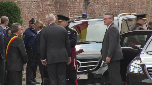 clean exterior views of prince andrew departing in a car after the commemorations marking the75th anniversary of the liberation of bruges on 7... - prince andrew stock videos & royalty-free footage