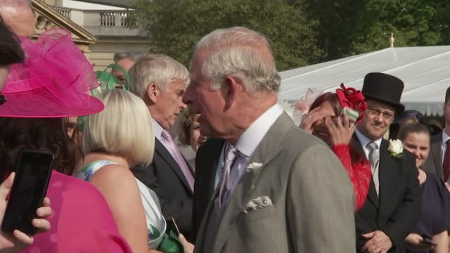 vídeos y material grabado en eventos de stock de exterior views of prince charles talking with guests at the first royal garden party of the year in the buckingham palace garden on 15 may 2019 in... - jardín formal