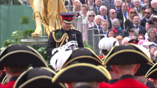 Exterior views of Prince Harry making a speech on the parade ground at The Royal Hospital Chelsea as he attends the Founder's Day Parade on 6 June...