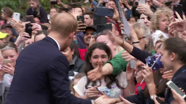 exterior views of prince harry the duke of sussex on a walkabout at melbourne's royal botanic gardens and meeting and greeting the crowd including... - bending stock videos & royalty-free footage