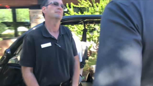 Exterior views of Sir Phillip Green at The Canyon Ranch in Tucson after being tracked down by Sky News and is filmed by a reporter on his mobile...