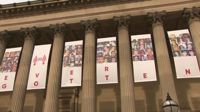 exterior views of stgeorges hall liverpool as it marks 30 years since the hillsborough disaster as it flies banners saying 96 never forgotten on 15... - hillsborough disaster stock videos and b-roll footage