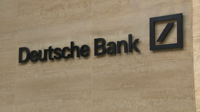 exterior views of the deutsche bank sign on the bank's building in central london after announcing worldwide job cuts on 8 july 2019 in london united... - deutsche bank stock videos & royalty-free footage