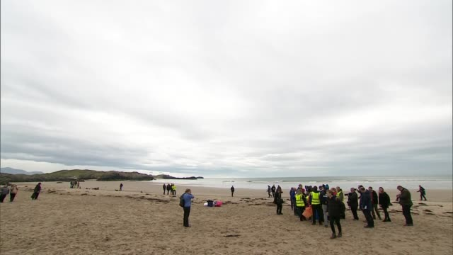 Exterior views of The Duke and Duchess of Cambridge talking with volunteeers before leaving at a beach clean up at Newborough Beach on Anglesey on 8...