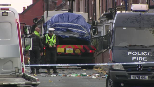 exterior views of the fatal car crash site in the darnall area of sheffield showing the police looking at debris on the road and the wreckage of the... - sheffield stock videos & royalty-free footage