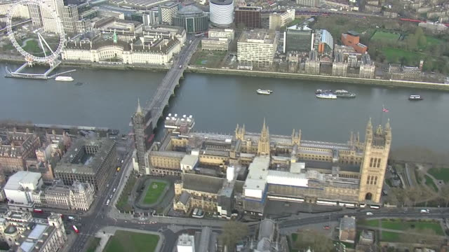 exterior views of the houses of parliament, london eye and the royal festival hall surrounded by empty streets on 20th march 2020 london, england. - royal festival hall stock videos & royalty-free footage
