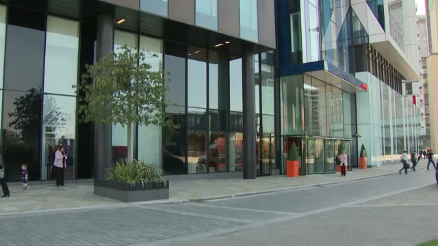 exterior views of the itv offices at media city, salford, including itv logo on 14 may 2019 n manchester, united kingdom - salford quays stock videos & royalty-free footage