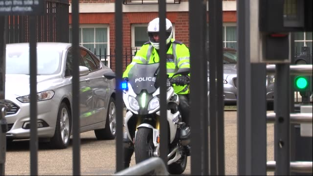 exterior views of theresa may departing downing street in a police convoy and heading to brussels for the eu brexit summit on 21 march 2019 in london... - belgium stock videos & royalty-free footage