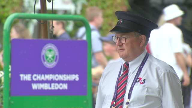 Exterior views Wimbledon All England Lawn Tennis Club including signs for Centre Court and security staff on 8 July 2019 in Wimbledon United Kingdom