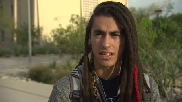 exterior vox pop with a student on the utep campus on the outcome of the us presidential election on november 09 2016 in el paso tx - vox populi stock videos and b-roll footage