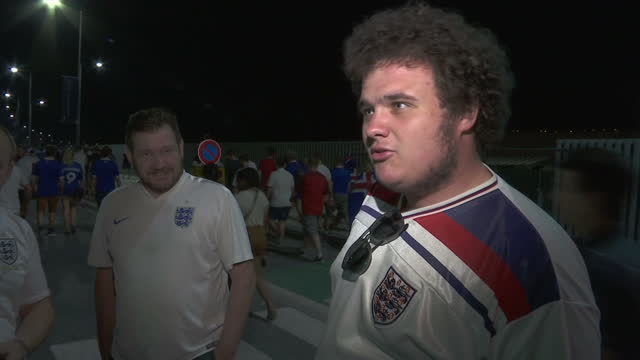 vídeos de stock, filmes e b-roll de exterior vox pops with england fans reacting to the resignation of england team manager roy hodgson after the team was defeated 21 by iceland in euro... - euro 2016